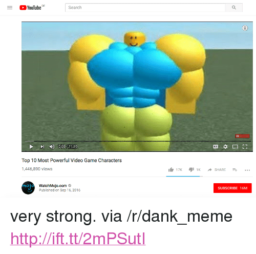 """Dank, Meme, and youtube.com: YouTube  Search  00011 35  Top 10 Most Powerful Video Game Characters  ,446,890 views  WatchMojo.com  Published on Sep 16, 2016  SUBSCRIBE 16M <p>very strong. via /r/dank_meme <a href=""""http://ift.tt/2mPSutI"""">http://ift.tt/2mPSutI</a></p>"""
