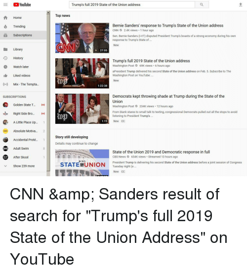 Youtube Trumps Full 2019 State Of The Union Address Top News Home