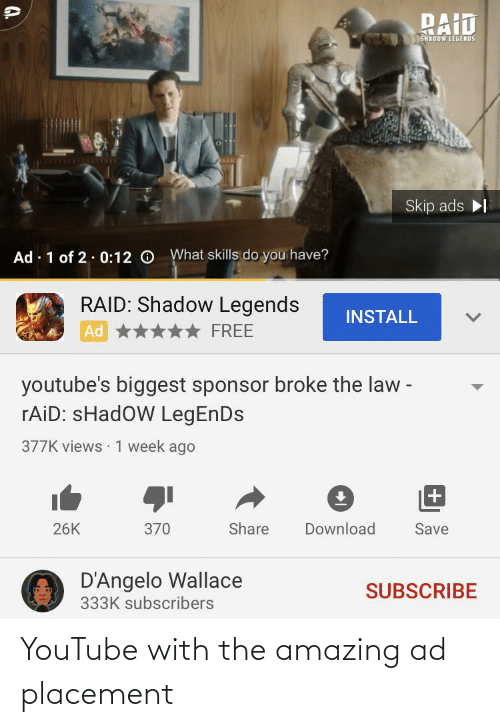 youtube.com, Amazing, and Thathappened: YouTube with the amazing ad placement