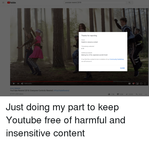 YouTube Youtube Rewind 2018 Thanks for Reporting Issue