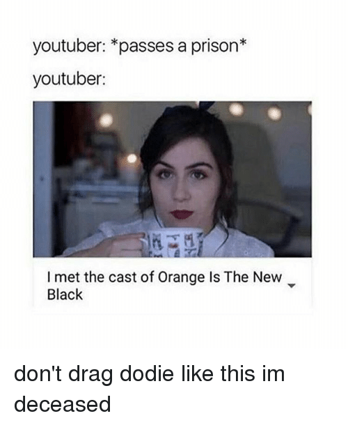 Prison, Mets, and Orange: youtuber: *passes a prison  youtuber:  met the cast of Orange Is The New  Black don't drag dodie like this im deceased