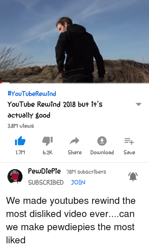 youtube.com, Good, and Video: YouTubeRewind  YouTube Rewind 2018 but ft's  actually good  3.8M views  1.7M  6.2KShare Download Save  PewDiePie 78M subscribers  SUBSCRIBED JOIN