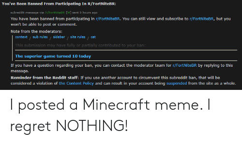 You've Been Banned From Participating in RFortNiteBR