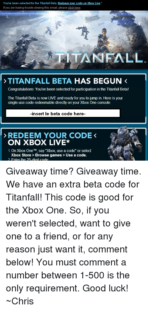 You've Been Selected for the Titanfall Beta Redeem Your Code on Xbox