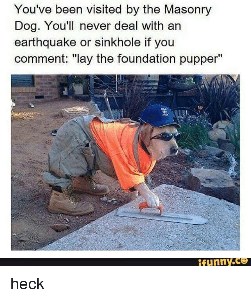 """Lay's, Memes, and Earthquake: You've been visited by the Masonry  Dog. You'll never deal with an  earthquake or sinkhole if you  comment: """"lay the foundation pupper""""  funny. heck"""