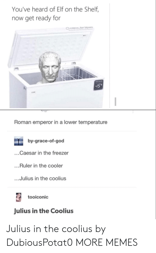 "Dank, Elf, and Elf on the Shelf: You've heard of Elf on the Shelf,  now get ready for  Sull  -15""  Roman emperor in a lower temperature  by-grace-of-god  ...Caesar in the freezer  ...Ruler in the cooler  ....Julius in the coolius  tooiconic  Julius in the Coolius Julius in the coolius by DubiousPotat0 MORE MEMES"