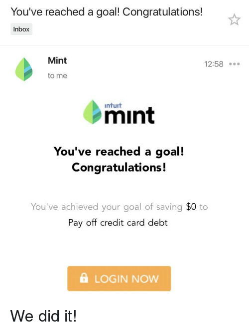 You've Reached a Goal! Congratulations! Inbox Mint 1258 to