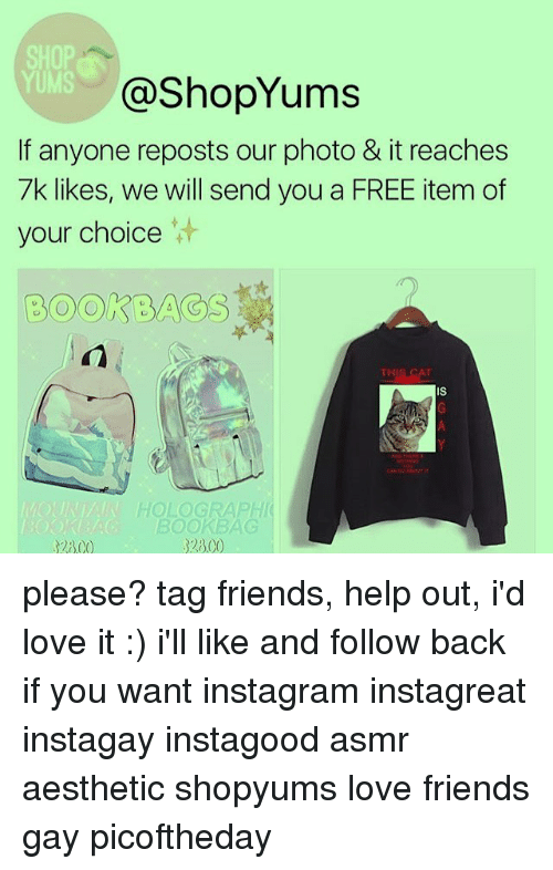 Memes, Asmr, and 🤖: YUMS  (a ShopYums  If anyone reposts our photo & it reaches  7k likes, we will send you a FREE item of  your choice  Book EA  THIS CAT  HOLOGRAPHI  BOOK BAG  2300 please? tag friends, help out, i'd love it :) i'll like and follow back if you want instagram instagreat instagay instagood asmr aesthetic shopyums love friends gay picoftheday