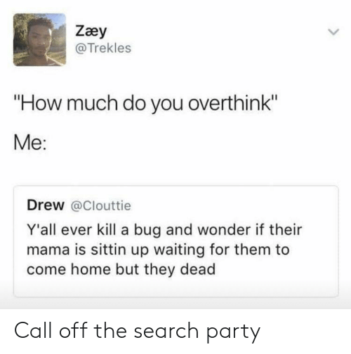 "Party, Reddit, and Home: Zæy  @Trekles  ""How much do you overthink""  Ме:  Drew @Clouttie  Y'all ever kill a bug and wonder if their  mama is sittin up waiting for them to  come home but they dead Call off the search party"