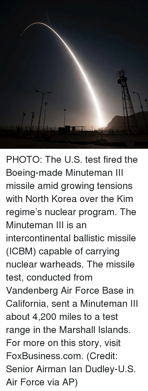 Bailey Jay, Memes, and North Korea: Z- PHOTO: The U.S. test fired the Boeing-made Minuteman III missile amid growing tensions with North Korea over the Kim regime's nuclear program. The Minuteman III is an intercontinental ballistic missile (ICBM) capable of carrying nuclear warheads. The missile test, conducted from Vandenberg Air Force Base in California, sent a Minuteman III about 4,200 miles to a test range in the Marshall Islands. For more on this story, visit FoxBusiness.com. (Credit: Senior Airman Ian Dudley-U.S. Air Force via AP)