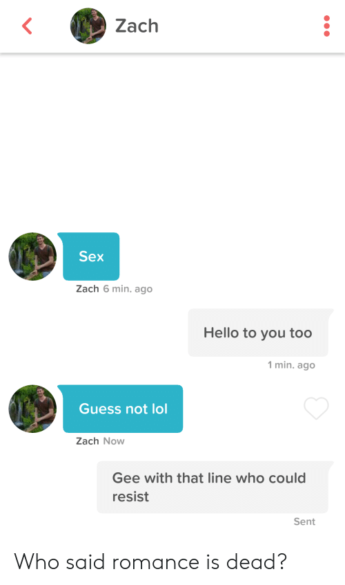 Hello, Lol, and Sex: Zach  Sex  Zach 6 min. ago  Hello to you too  1 min. ago  Guess not lol  Zach Now  Gee with that line who could  resist  Sent Who said romance is dead?
