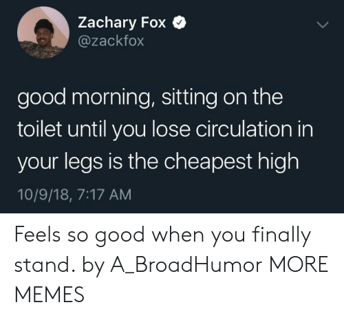 Dank, Memes, and Target: Zachary Fox Q  @zackfox  good morning, sitting on the  toilet until you lose circulation in  your legs is the cheapest high  10/9/18, 7:17 AM Feels so good when you finally stand. by A_BroadHumor MORE MEMES