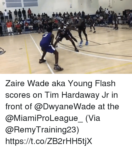 Memes, 🤖, and Flash: Zaire Wade aka Young Flash scores on Tim Hardaway Jr in front of @DwyaneWade at the @MiamiProLeague_   (Via @RemyTraining23) https://t.co/ZB2rHH5tjX