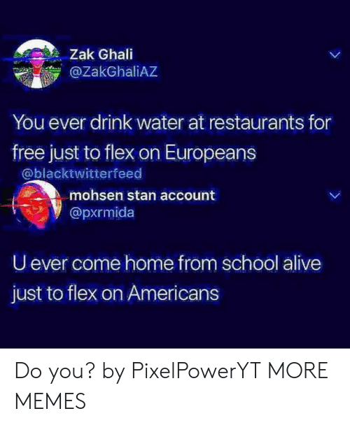 Alive, Dank, and Flexing: Zak Ghai  @ZakGhaliAZ  You ever drink water at restaurants for  free just to flex on Europeans  @blacktwitterfeed  mohsen stan account  @pxrmida  U ever come home from school alive  just to flex on Americans Do you? by PixelPowerYT MORE MEMES