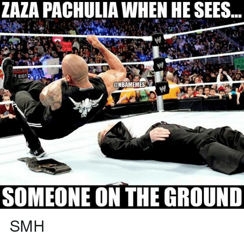 Nba, Riot, and Smh: ZAZA PACHULIA WHEN  HE SEES..  RIOT  @NBAMEMES  SOMEONE ON THE GROUND SMH