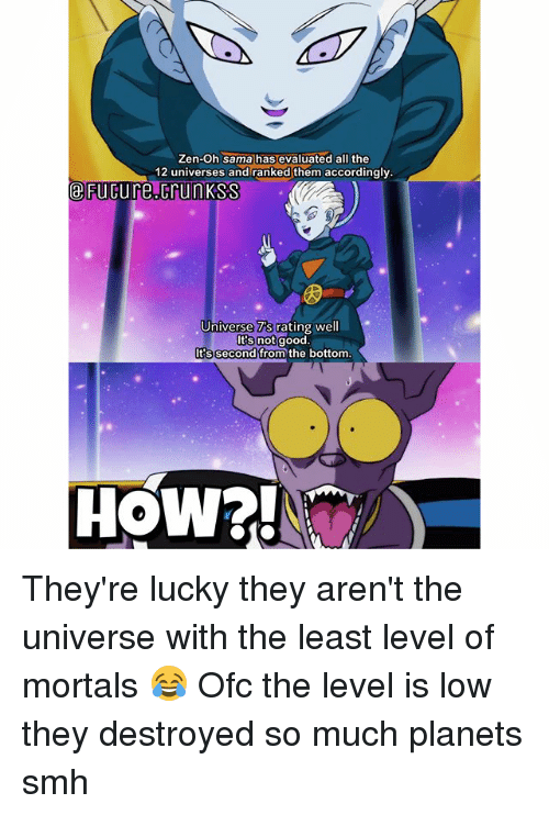 Memes, Smh, and Planets: Zen-Oh sama has evaluated all the  12 universes and ranked them accordingly.  eFücure.crunKSS  令  Universe 7's rating wel  Its notgood  Its second from the bottom. They're lucky they aren't the universe with the least level of mortals 😂 Ofc the level is low they destroyed so much planets smh