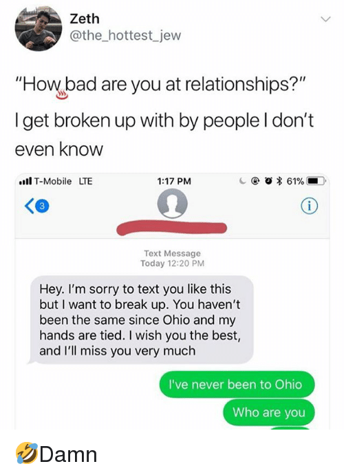 getting broken up with