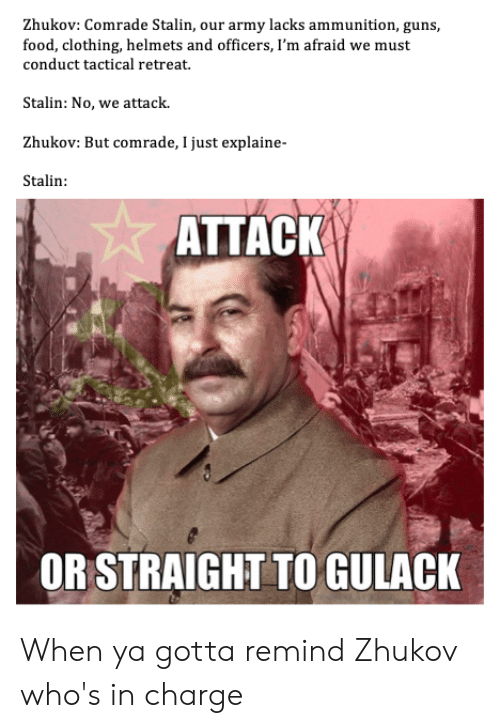Food, Guns, and Army: Zhukov: Comrade Stalin, our army lacks ammunition, guns,  food, clothing, helmets and officers, I'm afraid we must  conduct tactical retreat  Stalin: No, we attack  Zhukov: But comrade, I just explaine-  Stalin  ATTACK  OR STRAIGHT TO GULACK When ya gotta remind Zhukov who's in charge