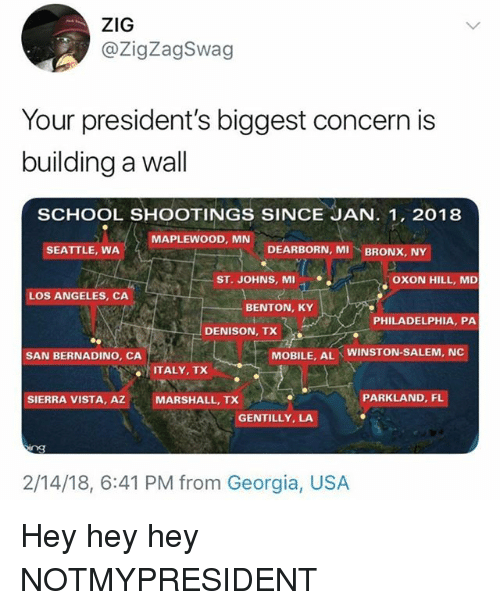 Memes, School, and Georgia: @ZigZagSwag  Your president's biggest concern is  building a wall  SCHOOL SHOOTINGS SINCE JAN. 1, 2018  MAPLEWOOD, MN  SEATTLE, WA  DEARBORN, MI  BRONX, NY  ST. JOHNS, MI  OXON HILL, MD  LOS ANGELES, CA  BENTON, KY  PHILADELPHIA, PA  DENISON, TX  SAN BERNADINO, CA  MOBILE, AL  WINSTON-SALEM, NC  ITALY, TX  SIERRA VISTA, AZMARSHALL, TX  PARKLAND, FL  GENTILLY, LA  2/14/18, 6:41 PM from Georgia, USA Hey hey hey NOTMYPRESIDENT