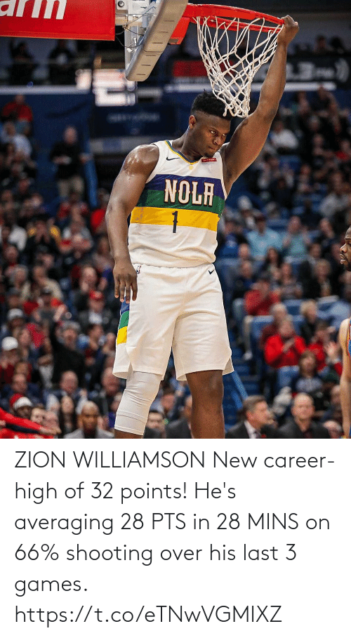 Memes, Games, and 🤖: ZION WILLIAMSON New career-high of 32 points!   He's averaging 28 PTS in 28 MINS on 66% shooting over his last 3 games. https://t.co/eTNwVGMIXZ