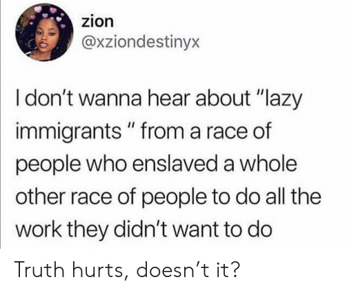 """Lazy, Work, and Race: zion  @xziondestinyx  I don't wanna hear about """"lazy  immigrants """" from a race of  people who enslaved a whole  other race of people to do all the  work they didn't want to do Truth hurts, doesn't it?"""