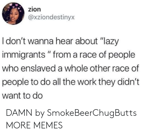 "Dank, Lazy, and Memes: zion  @xziondestinyx  Idon't wanna hear about ""lazy  immigrants"" from a race of people  who enslaved a whole other race of  people to do all the work they didn't  want to do DAMN by SmokeBeerChugButts MORE MEMES"