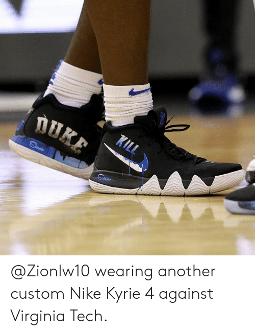release date c5585 896da Wearing Another Custom Nike Kyrie 4 Against Virginia Tech ...