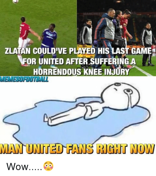 Memes, Wow, and United: ZLATAN COULDIVE PLAYED HISLAS  FOR UNITED AFTER SUFFERING A  HORRENDOUS KNEE INJURY  MEMEEUROOTBALL  MAN UNITED FA  RIGHT NOW Wow.....😳