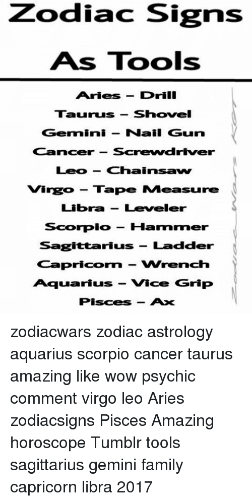 27ea0eac1 Family, Memes, and Tumblr: Zodiac Signs As Tools Aries Drill Taurus shovel  Gemini. zodiacwars zodiac astrology aquarius scorpio cancer ...