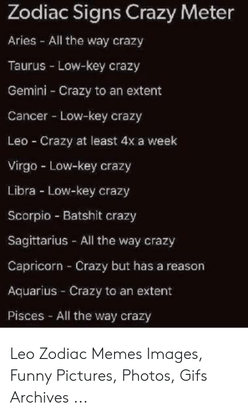 Zodiac Signs Crazy Meter Aries All the Way Crazy Taurus Low