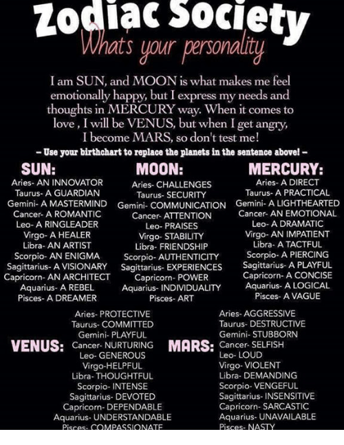 Zodiac Society Ats Your Personality I Am SUN and MOON Is What Makes