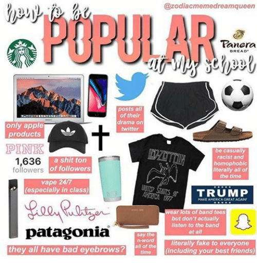 Apple, Bad, and Fake: @zodiacmemedreamqueen  POPULAR  anera  2)2)  posts all  of their  drama on  twitter  only apple  products  PINK  1,636  be casually  racist and  homophobic  literally all of  the tim0  a shit ton  of followers  followers  vape 24/7  (especially in class)  ts of band tees  but don't actually  listen to the band  at all  patagonia  they all have bad eyebrowS?te (including your best friends)  say the  n-word  n-wor  literally fake to everyone  all of the