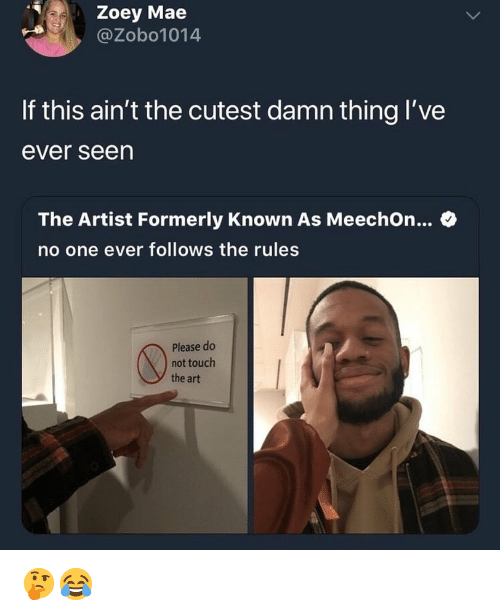 Memes, Artist, and 🤖: Zoey Mae  @Zobo1014  If this ain't the cutest damn thing I've  ever seen  The Artist Formerly Known As MeechOn... C  no one ever follows the rules  Please do  not touch  the art 🤔😂