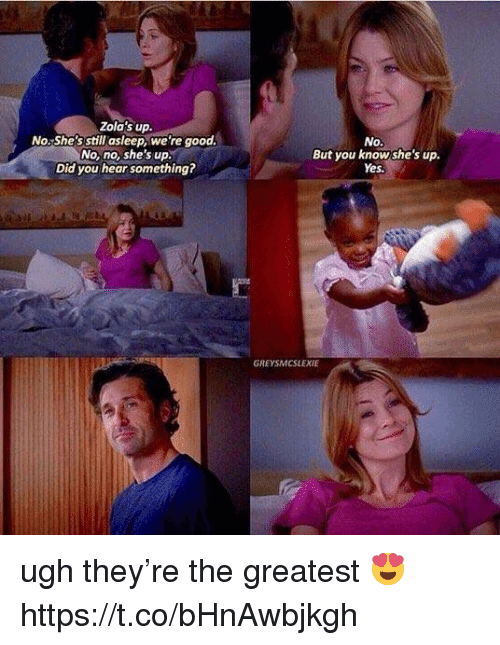 Memes, Good, and 🤖: Zola's up.  No.She's still asleep, we're good  No, no, she's up.  Did you hear something?  No.  But you knowshe's up.  Yes  GREYSMCSLEXIE ugh they're the greatest 😍 https://t.co/bHnAwbjkgh