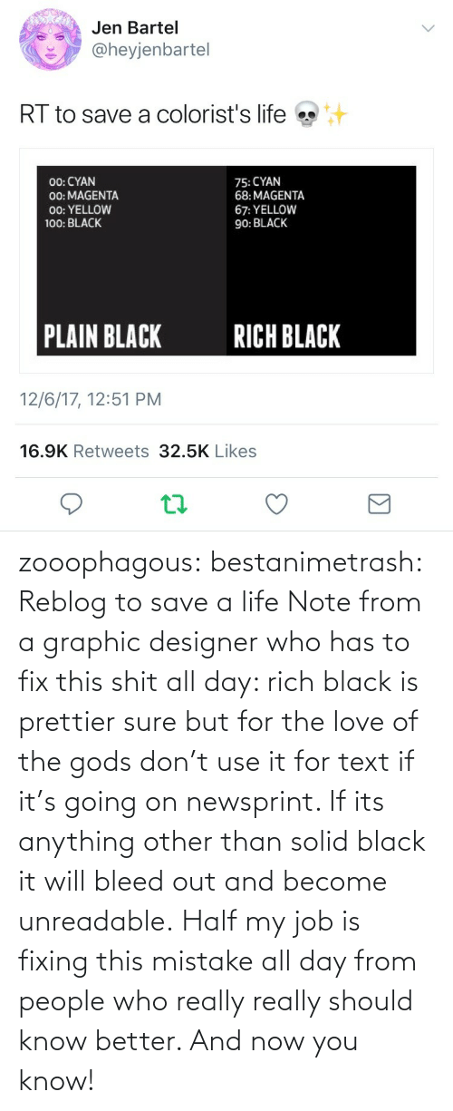 Life, Love, and Tumblr: zooophagous:  bestanimetrash: Reblog to save a life  Note from a graphic designer who has to fix this shit all day: rich black is prettier sure but for the love of the gods don't use it for text if it's going on newsprint. If its anything other than solid black it will bleed out and become unreadable. Half my job is fixing this mistake all day from people who really really should know better. And now you know!