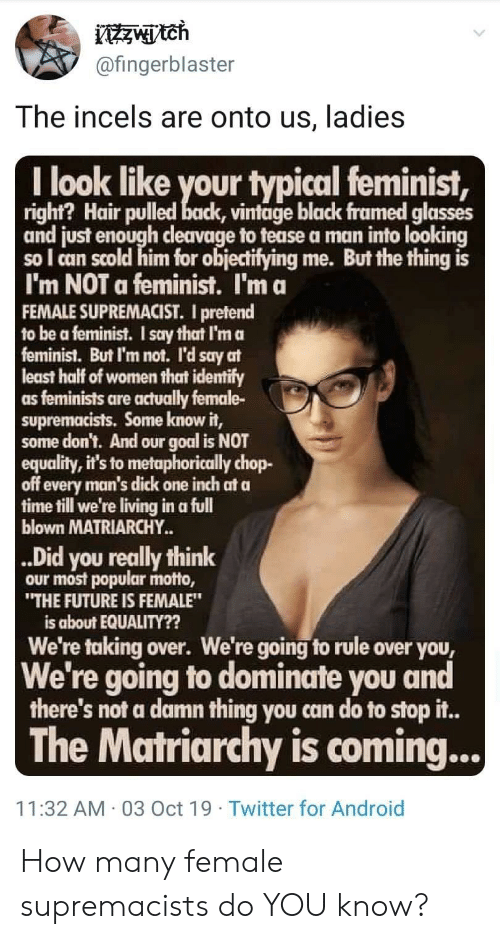 """Android, Future, and Twitter: ztch  @fingerblaster  The incels are onto us, ladies  I look like your typical feminist,  right? Hair pulled back, vintage black framed glasses  and just enough cleavage to tease a man into looking  so I can scold him for objecifying me. But the thing is  I'm NOT a feminist. I'm a  FEMALE SUPREMACIST. I pretend  to be a feminist. I say that I'm a  feminist. But I'm not. l'd say at  least half of women that identify  as feminists are actually female-  supremacists. Some know it,  some don't. And our goal is NOT  equality, it's to metaphorically chop-  off every man's dick one inch at a  time till we're living in a full  blown MATRIARCHY.  