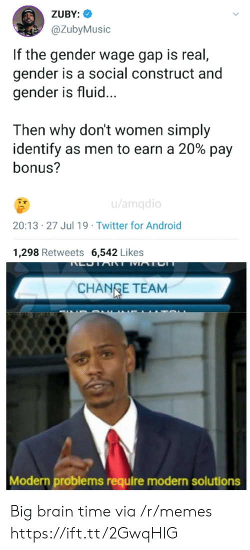 Android, Memes, and Twitter: ZUBY:  @ZubyMusic  If the gender wage gap is real,  gender is a social construct and  gender is fluid...  Then why don't women simply  identify as men to earn a 20% pay  bonus?  u/amqdio  20:13 27 Jul 19 Twitter for Android  1,298 Retweets 6,542 Likes  LOTART MATCH  CHANGE TEAM  Modern problems require modern solutions Big brain time via /r/memes https://ift.tt/2GwqHIG